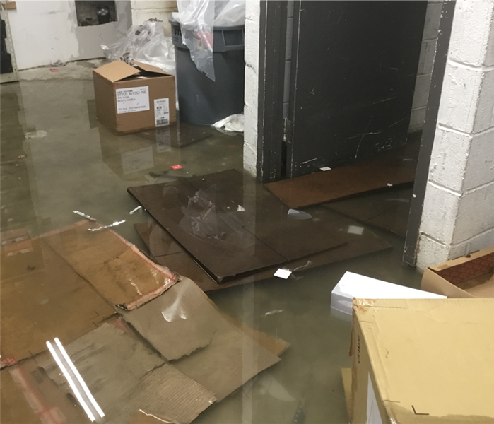 Stock room flooded in Bronx Before